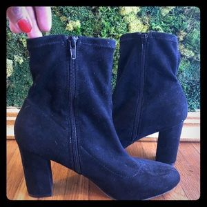 Black suede Heeled Madden Girl ankle booties
